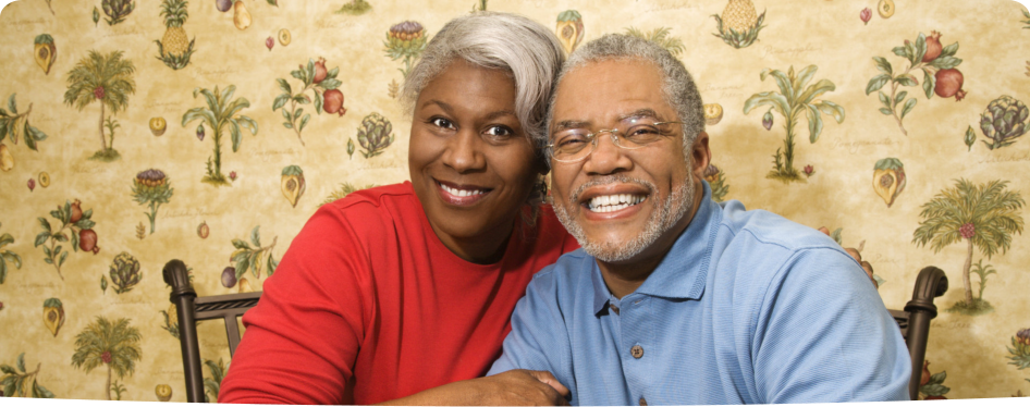 an old couple smiling