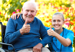 nurse and an old man showing their thumbs up